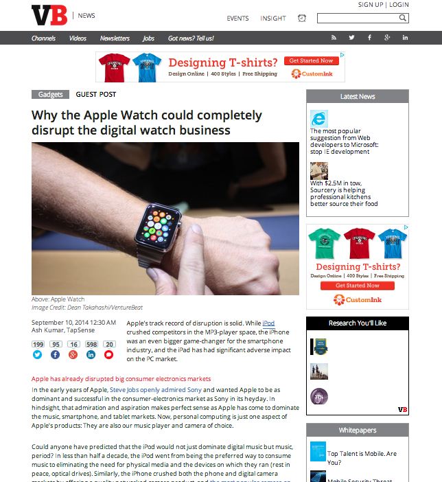 VentureBeat Apple Watch Op-Ed